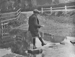 Walking the stepping stones in Huntington.Photo taken in 1936 by Mr G Lund.