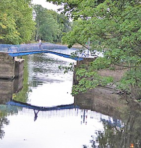 The Blue Bridge crosses the Foss just before it joins the Ouse