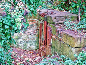 Rusting equipment on the old lock chamber just outside New Earswick