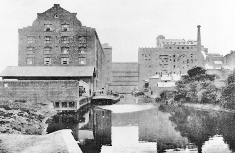 Leetham's Mill on the banks of the Foss, 1910.