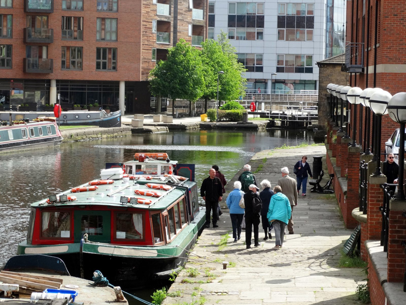 "Arriving at ""Kirkstall Flyer"" moored at Canal Wharf opposite Granary Wharf, Leeds"
