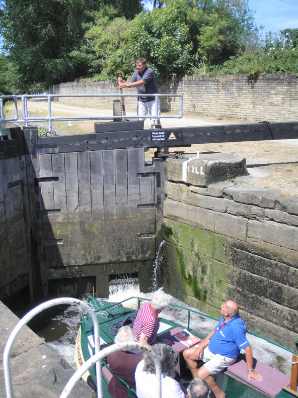 A wooden spike is used to open many locks on the Calder and Hebble Navigation